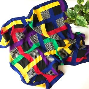 Color block & Houndstooth Pattern Scarf